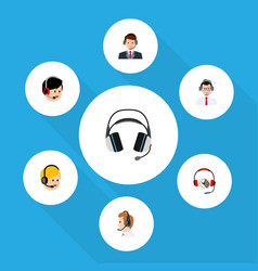 Flat telemarketing set of help call center vector