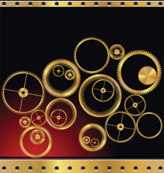Gold gear background vector image vector image