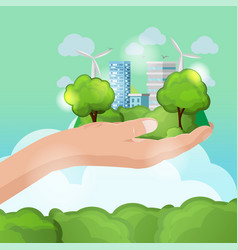 Hand hold nature eco city vector