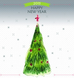 Happy New Year Greeting Card with big Christmas vector image