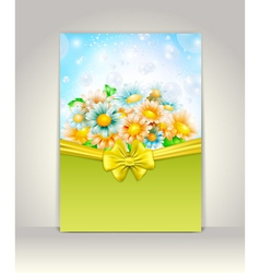 Invitation card with spring flowers vector