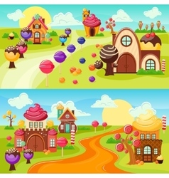 Landscape sweets banners set vector