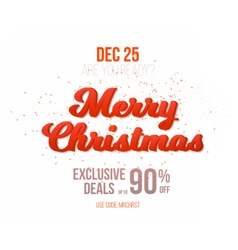 Merry christmas sale poster template isolated vector