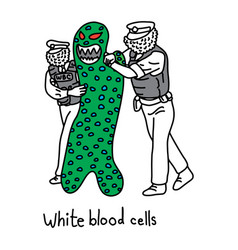 metaphor function of white blood cell to protect vector image