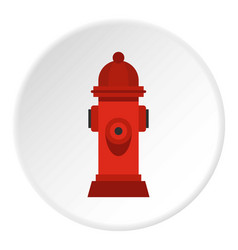 Red fire hydrant icon circle vector