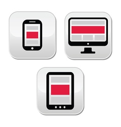 Responsive design for web - computer screen smart vector
