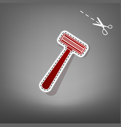 Safety razor sign red icon with for vector
