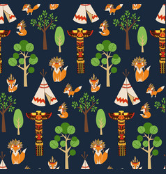 Seamless pattern texture with foxes in vector