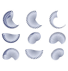 Set of abstract design elements blue 3d vector