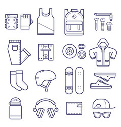 skateboard icons set vector image vector image