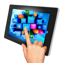 tablet pc with colorful icons vector image vector image