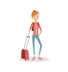 Travel people cartoon Happy girl with hand vector image vector image