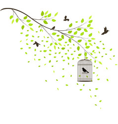 tree with flying birds vector image vector image