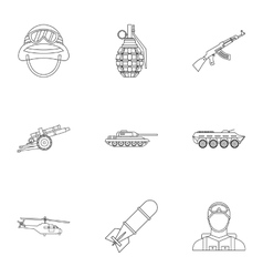 War icons set outline style vector image vector image
