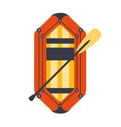 Yellow and red inflatable dinghy with peddle part vector