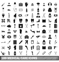 100 medical care icons set simple style vector