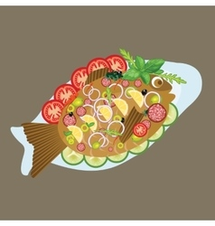 Grilled fish in a plate sea food dinner lunch menu vector