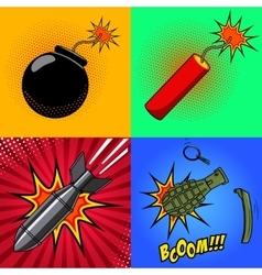 Cartoon bomb dynamite stick grenade with fire vector