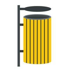 yellow litter waste bin icon isolated vector image