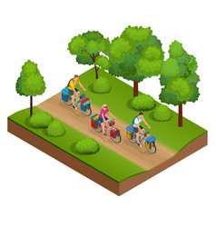 isometric bikers on bicycle with travelling bag vector image