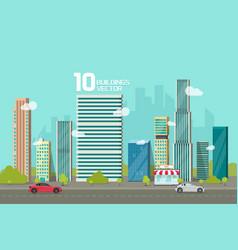 city buildings along street road vector image