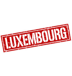 Luxembourg red square stamp vector