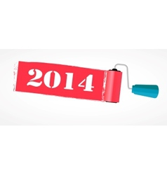 Paint roll 2014 new year background vector