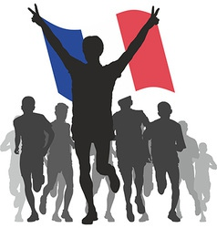 Winner with the france flag at the finish vector