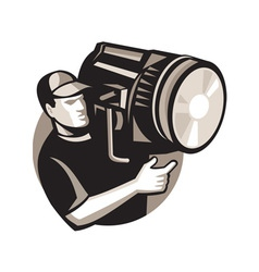 Film crew with spotlight fresnel light vector