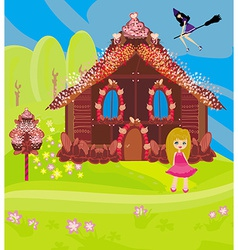 Gingerbread house and a witch on a broom vector