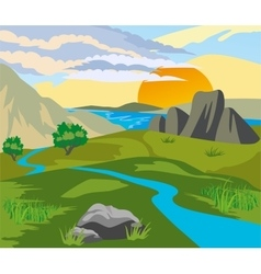 River valley at sunset vector