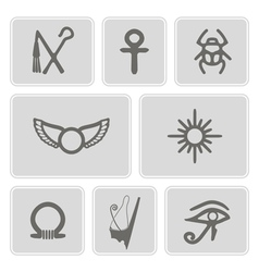 Monochrome icons with egyptian symbols vector