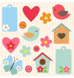Set of flowers and birds vector