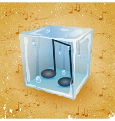Grunge background with ice cube vector image
