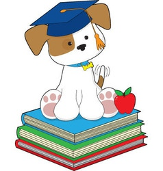 Cute puppy graduate vector
