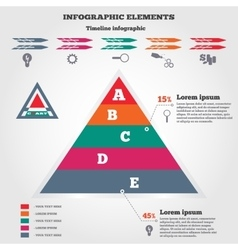 Infographics elements pyramid chart timeline vector