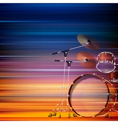 Abstract blur music background with drum kit vector