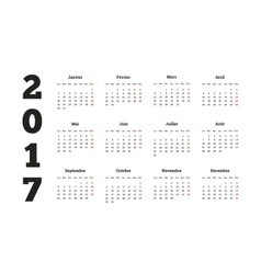 2017 year simple calendar on french language vector