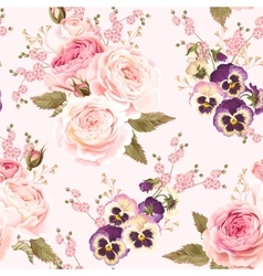 Roses and pansies seamless background vector
