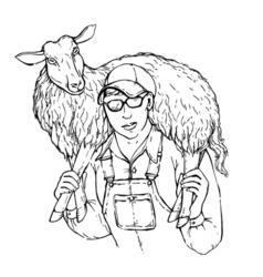 a young strong farmer boy with sheep on his vector image