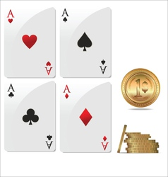 Ace poker with golden poker chips vector image