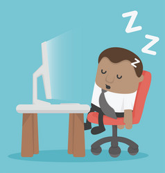african businessman tired sleeping at desk at the vector image vector image