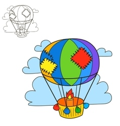 Air balloon coloring book page cartoon vector