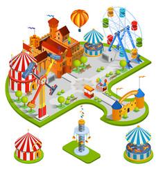 Amusement park isometric composition vector