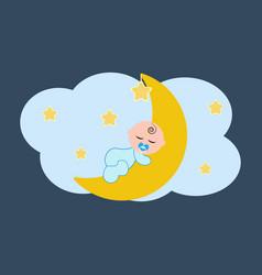 Baby sleeping on the moon vector