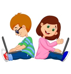 Cartoon boy and girl studying with laptop vector image