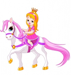 cartoon princess on horse vector image vector image
