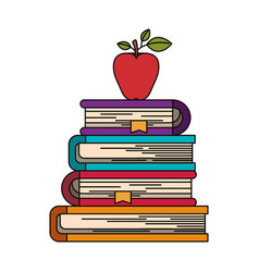 Colorful image of stack of books with apple fruit vector
