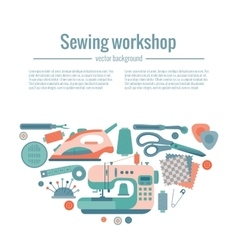 Colorful sewing workshop concept vector