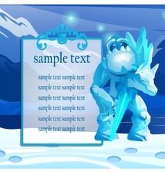 Cute monster from the ice in the mountains vector image